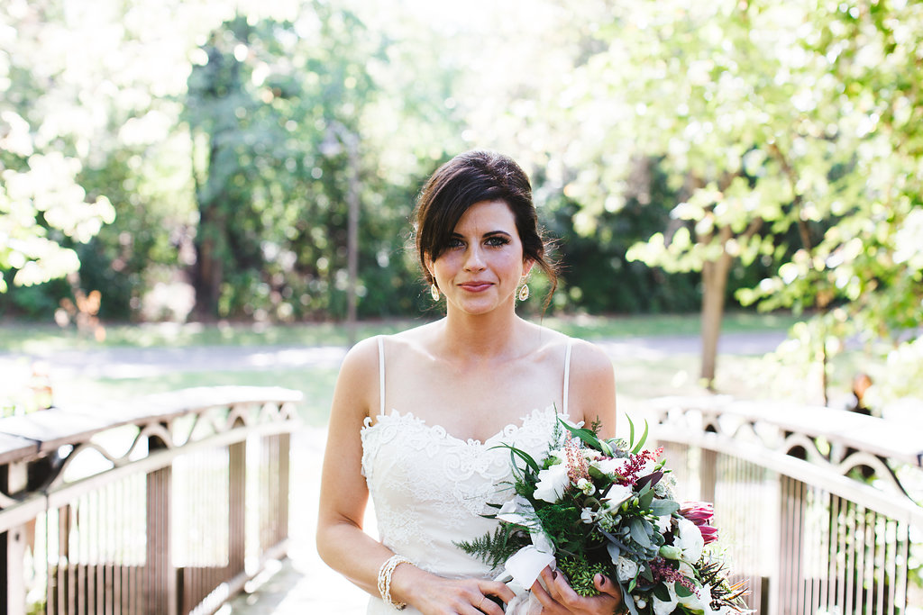 Aaron Rice Photography   Minnehaha Creek Park first look   wedding dress with straps   Sixpence Events day of coordinating