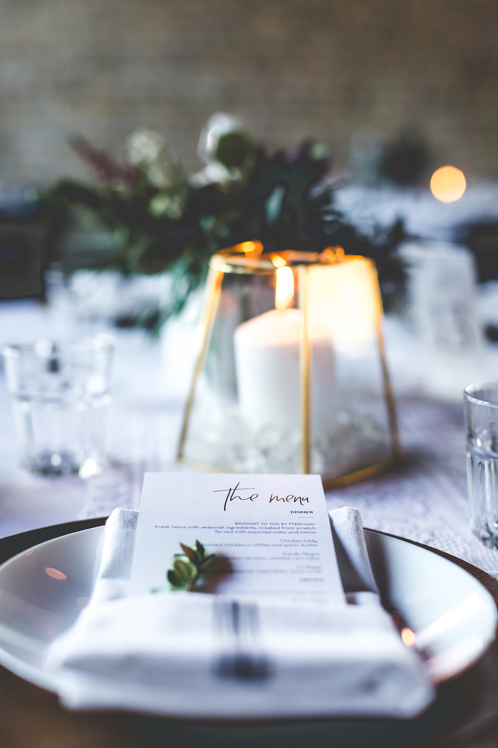 Aaron Rice Photography   Annunciation Ceremony   Day Block Wedding Reception   Sixpence Events and Planning Minnesota Wedding planner   wood charger   rosemary in the napkin   kitchen napkin   menu fold napkin   geometric pillar candle   table deco DIY
