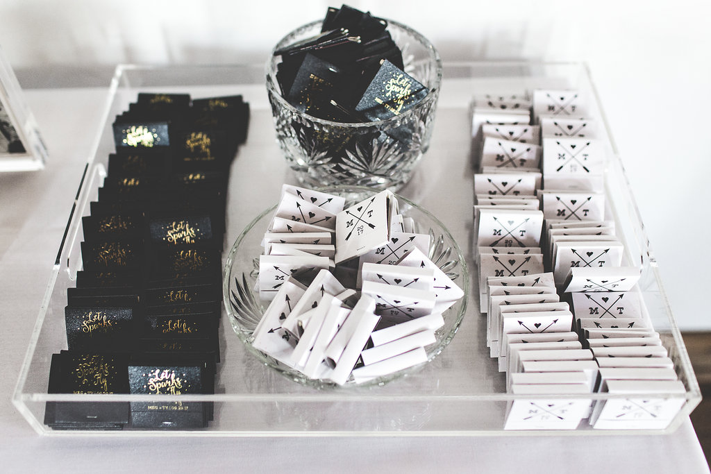 perfect match wedding favors in acrylic tray   Aaron Rice   Sixpence Events day of coordinating