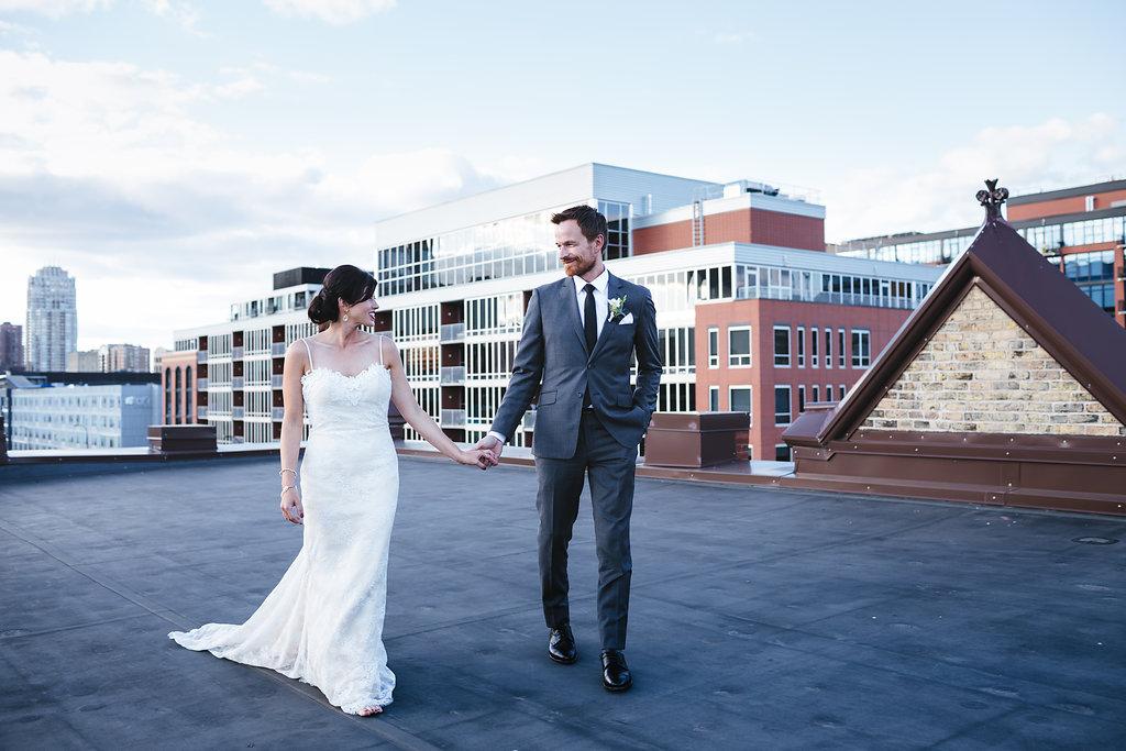 Day Block rooftop Minneapolis wedding pictures