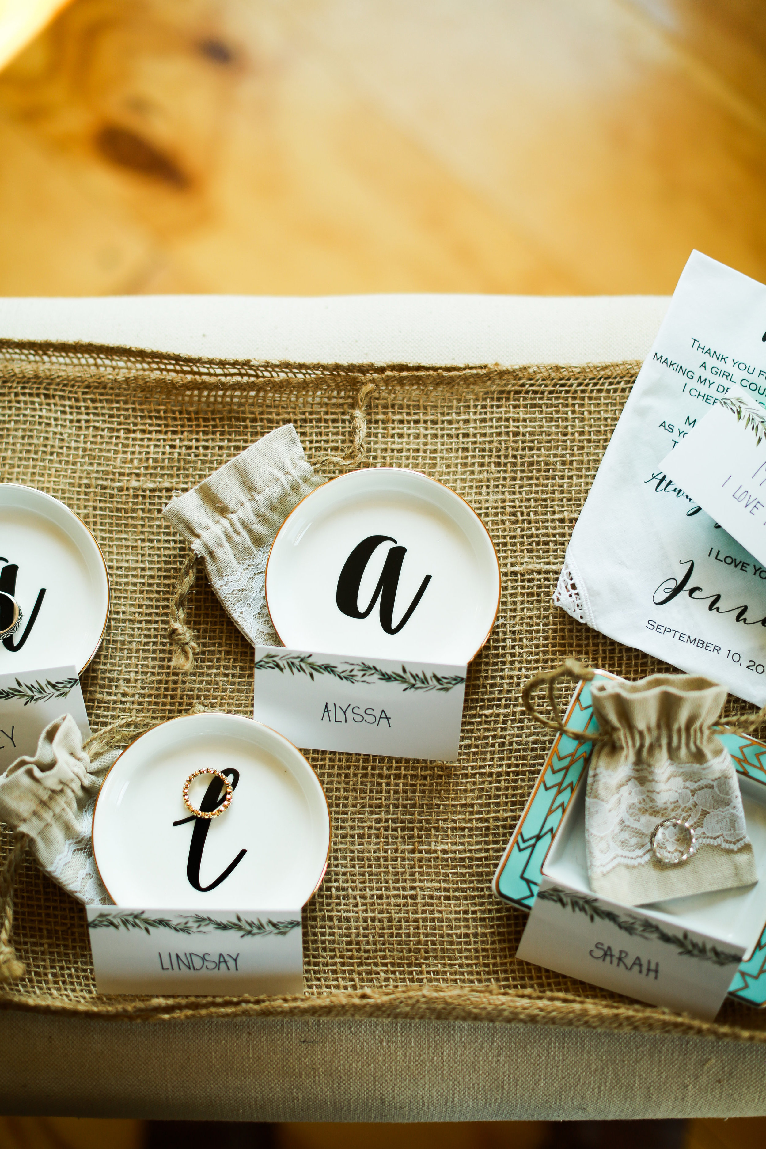 Jenna Kevin Wedding   Hannah Schmitt Photography   individual ring dish for bridal party and heirloom rings   Legacy Hill Farm