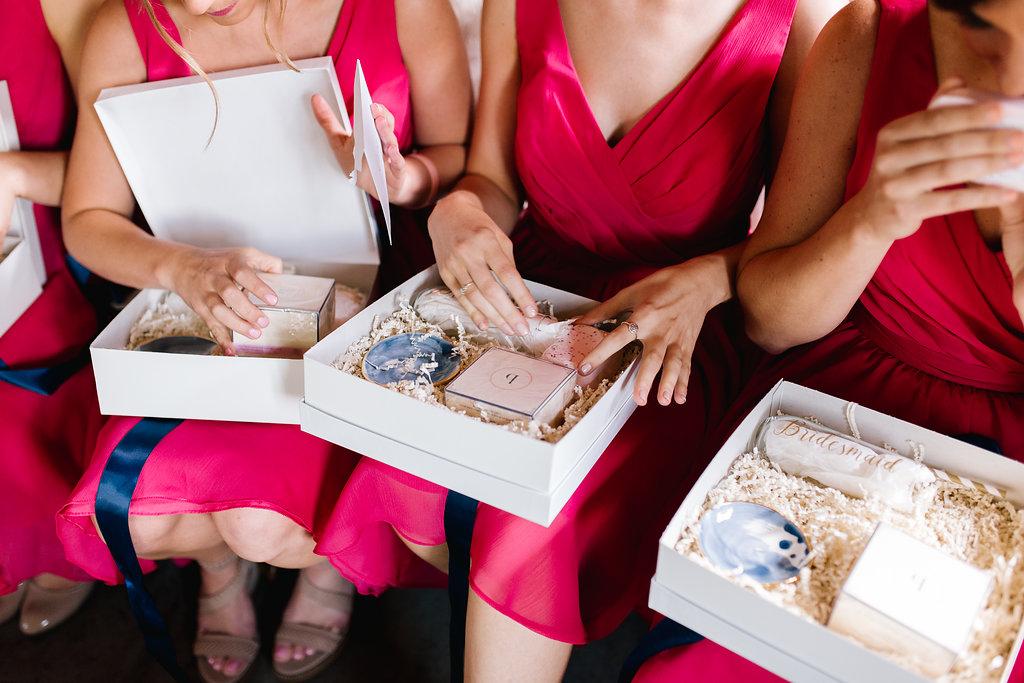 Jade + Seth Wedding | Allison Hopperstad Photography | Bloom Lake Barn | Sixpence Events & Planning day of coordinating | Jade Taylor Market custom bridesmaids boxes