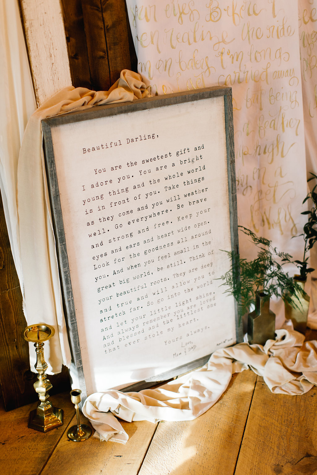 Jade + Seth Wedding | Allison Hopperstad Photography | Bloom Lake Barn | first dance dance floor decor with love letter framed by A Vintage Touch Weddings | day of coordinating by Sixpence Events & Planning