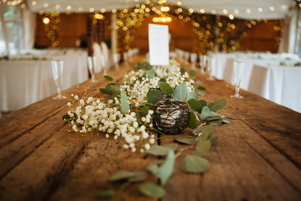Julia + Johanna | Alyssa Lee Photography | Camrose Hill Flower Studio | Sixpence Events and Planning day of coordinating | harvest head table with eucalyptus and queen anne's lace runner