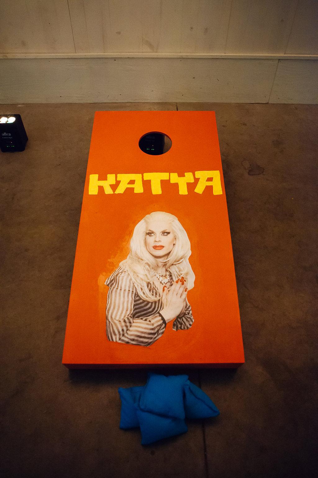 Julia + Johanna | Alyssa Lee Photography | Camrose Hill Flower Studio | Sixpence Events and Planning day of coordinating | Katya bags board custom corn hole game