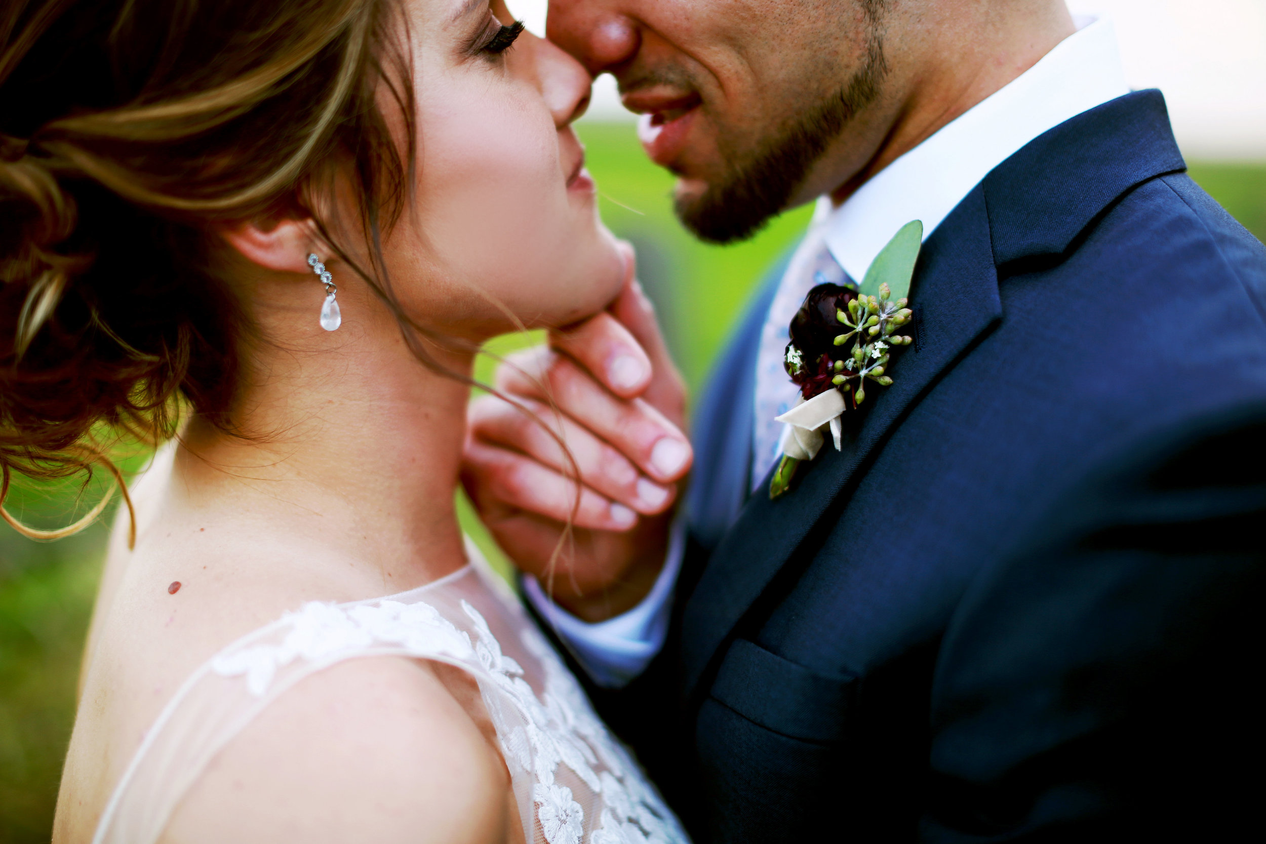 Jenna Kevin Wedding   Sixpence Events day of coordinating   Hannah Schmitt Photography   Legacy Hill Farm   bride and groom almost kissing