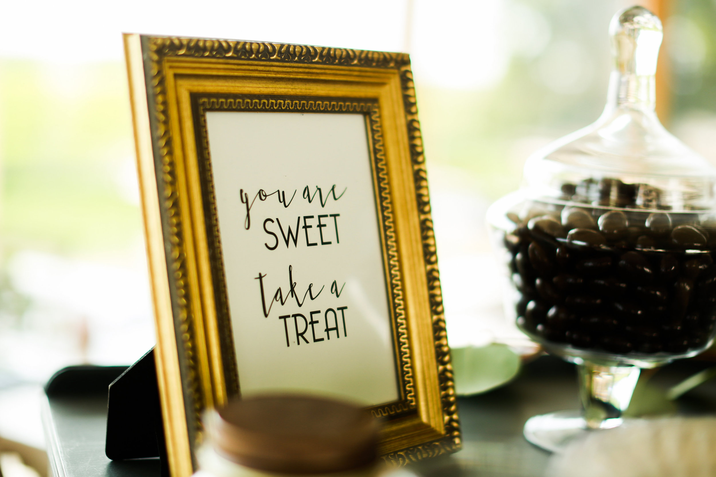 Jenna Kevin Wedding   Sixpence Events day of coordinating   Hannah Schmitt Photography   Legacy Hill Farm   you're sweet take a treat sign for sweet and salty bar