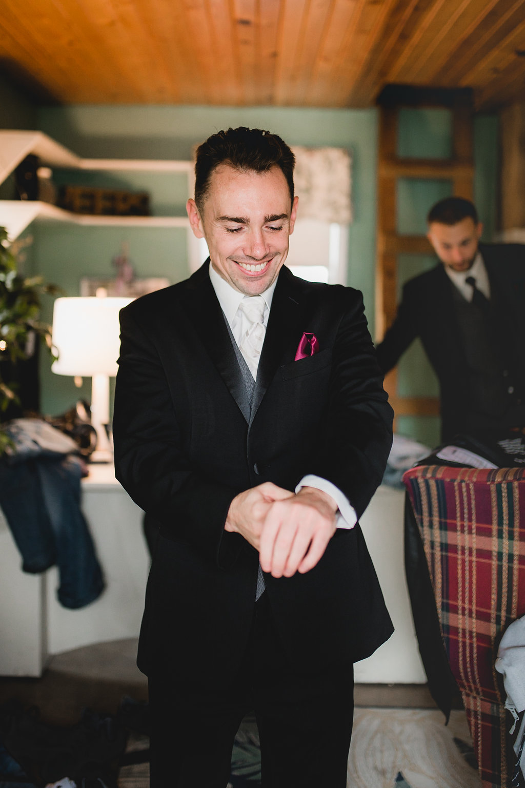 Leslee & Billy | Legacy Hill Farm Wedding | Aqua Fox Photography | A Vintage Touch Wedding Planning | Sixpence Events & Planning day of coordinating | groom getting ready with a magenta pocket square
