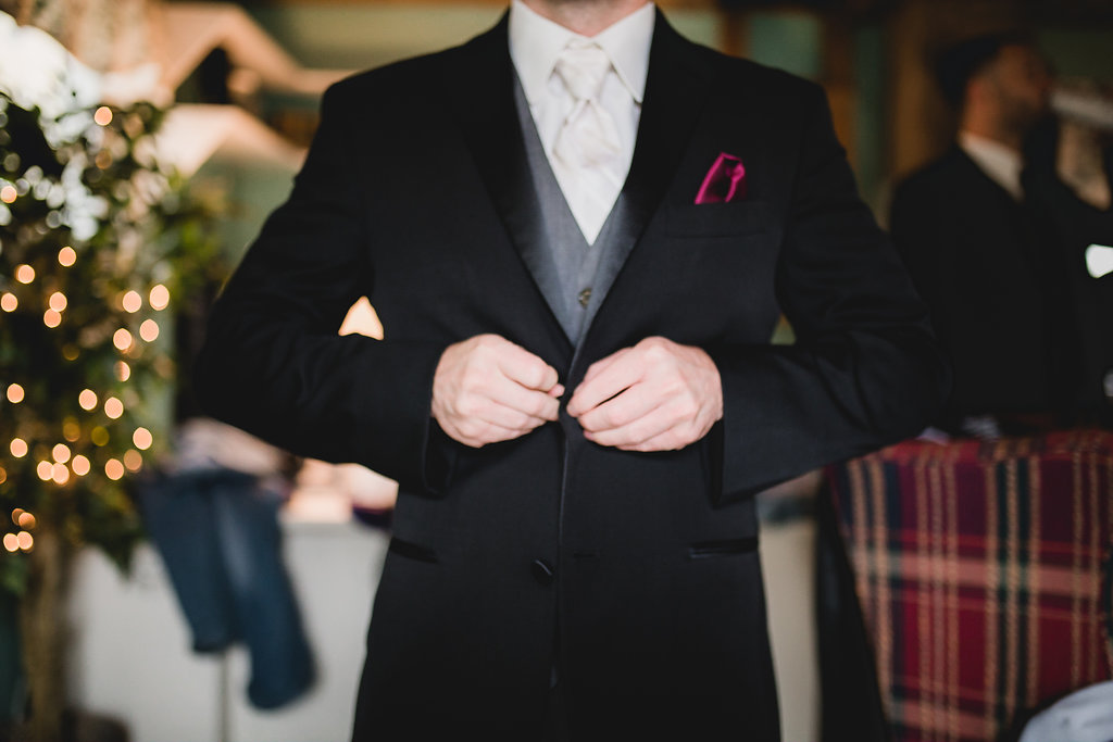 Leslee & Billy | Legacy Hill Farm Wedding | Aqua Fox Photography | A Vintage Touch Wedding Planning | Sixpence Events & Planning day of coordinating | buttoning suit | ivory on white stripe tie with grey vest and magenta pocket square