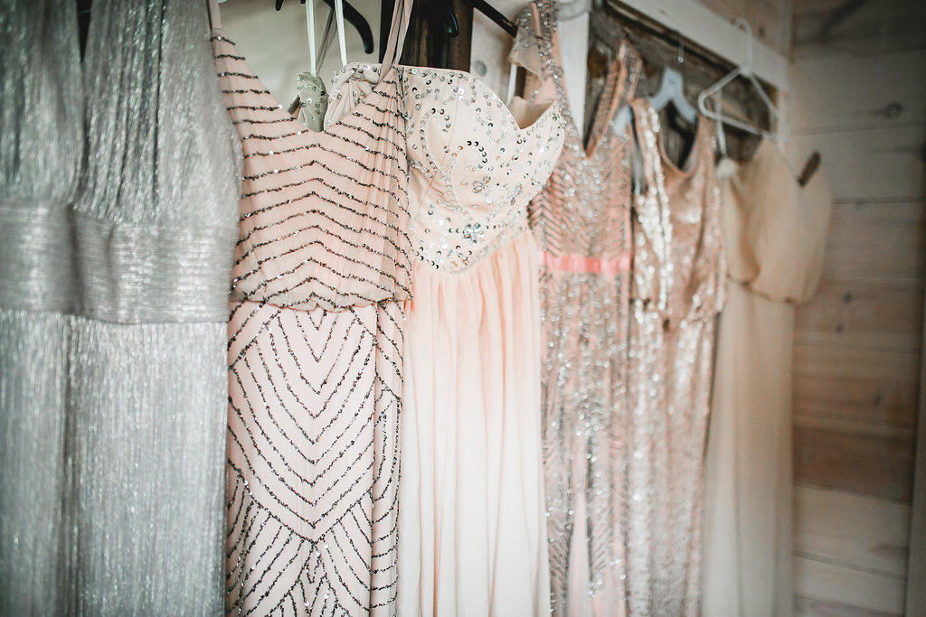 Leslee & Billy | Legacy Hill Farm Wedding | Aqua Fox Photography | A Vintage Touch Wedding Planning | Sixpence Events & Planning day of coordinating | pink sparkle bridesmaids dresses
