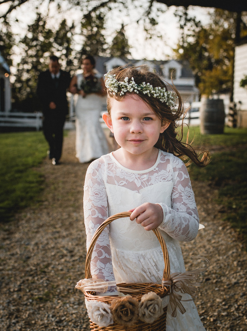 Leslee + Billy | Aqua Fox Photography | Legacy Hill Farm | Cutting Garden floral crown | wind swept flower girl with wicker basket and baby's breath floral crown