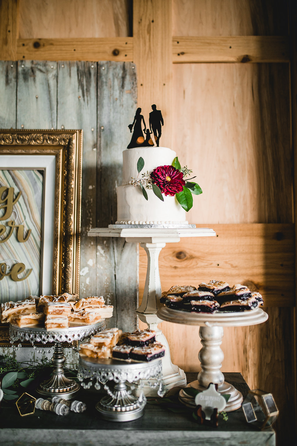 Leslee + Billy | Aqua Fox Photography | Legacy Hill Farm | family silhouette cake topper | dessert bar by A Vintage Touch Weddings