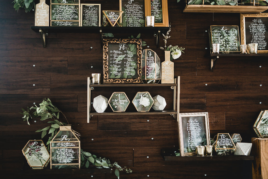 Leslee + Billy | Aqua Fox Photography | Legacy Hill Farm | seat assignment wall, hand calligraphy on glassware by A Vintage Touch weddings