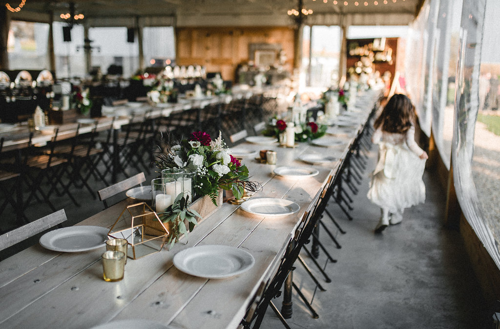 Leslee + Billy | Aqua Fox Photography | Legacy Hill Farm | table scape, design and decor by A Vintage Touch weddings | white plates on harvest long tables with flower box centerpieces