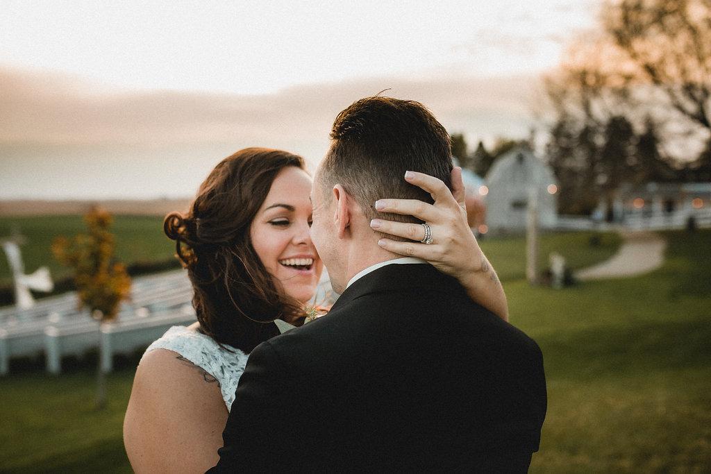 Leslee + Billy | Aqua Fox Photography | Legacy Hill Farm | bride and groom wind swept