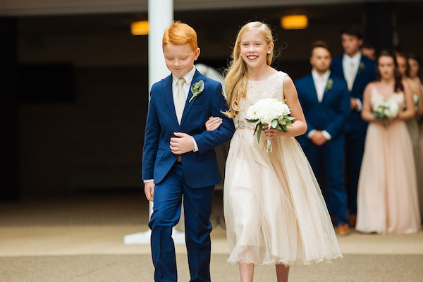 Hailey and Hunter | Alyssa Lee Photography | Sixpence Events & Planning | red headed ring bearer and middle schooler flower girl