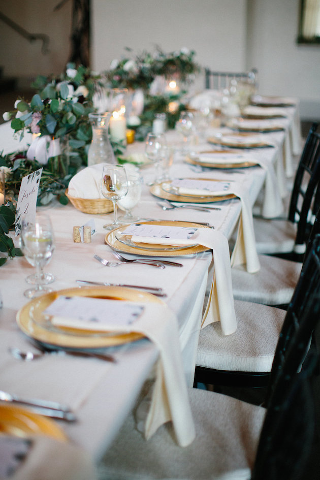 harvest table, ivory on ivory linens with gold chargers | Nicole + Luke | Villa Bellezza | Kristina Lorraine Photo45.jpg