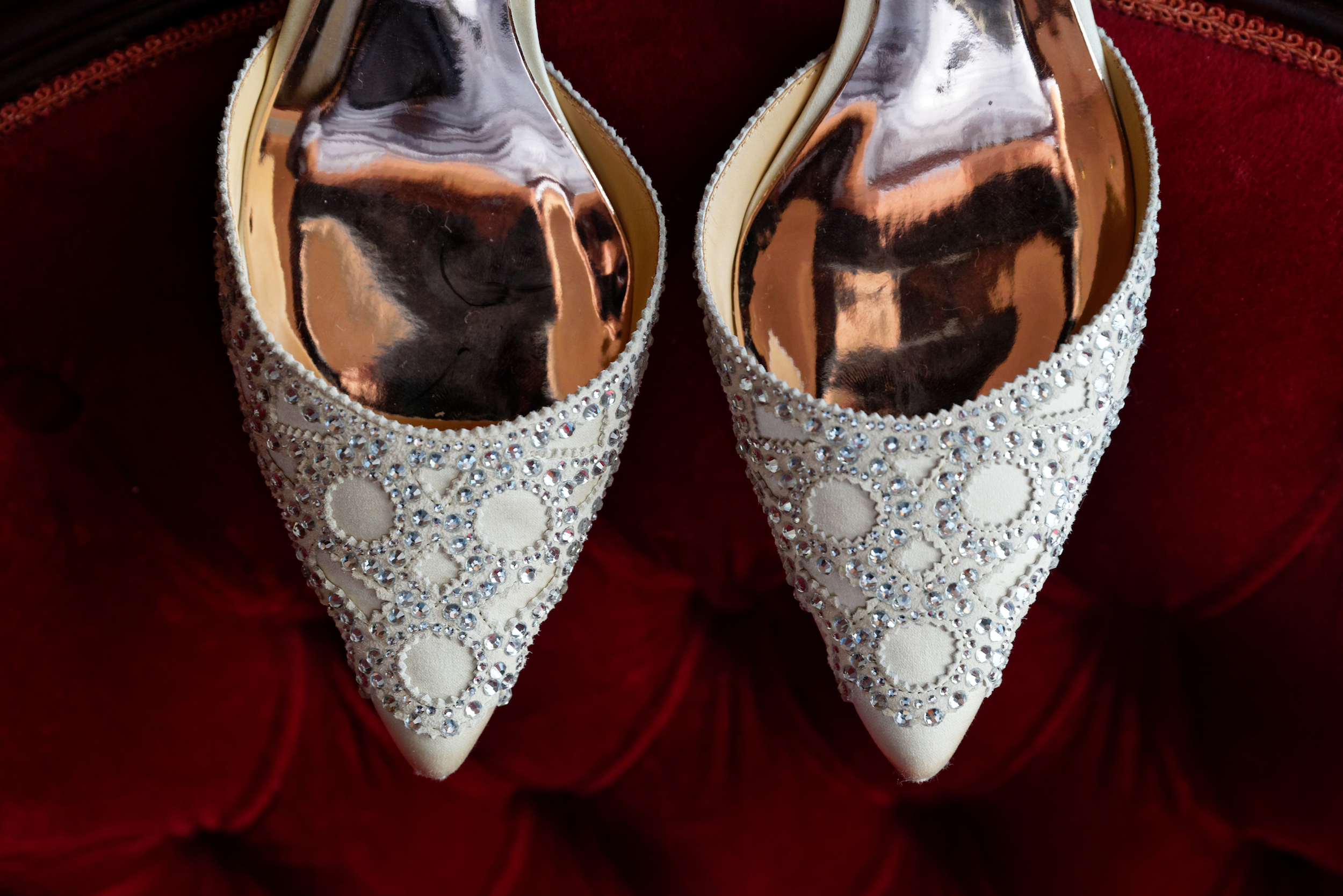 Lauren and Cameron | Historic Concord Exchange | La French Touch Photography | Sixpence Events & Planning day of coordinating | Badgley Mischka wedding shoes and heels