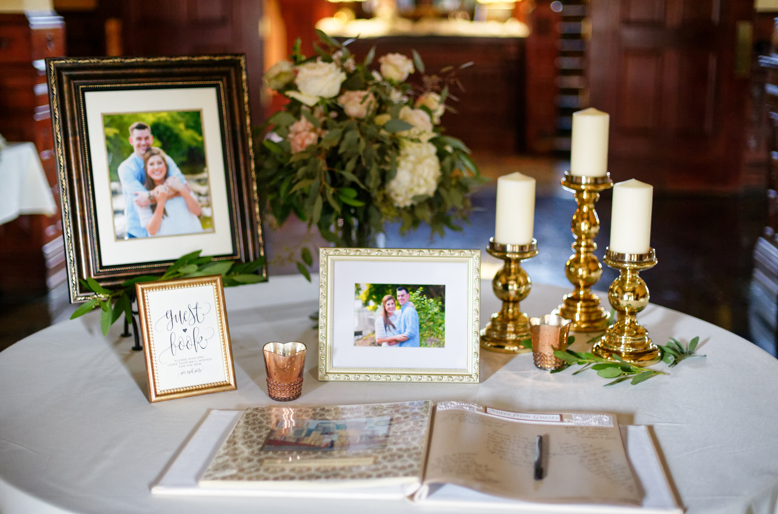 Lauren and Cameron | Historic Concord Exchange | La French Touch Photography | Sixpence Events & Planning day of coordinating | welcome table with guest book and portraits framed