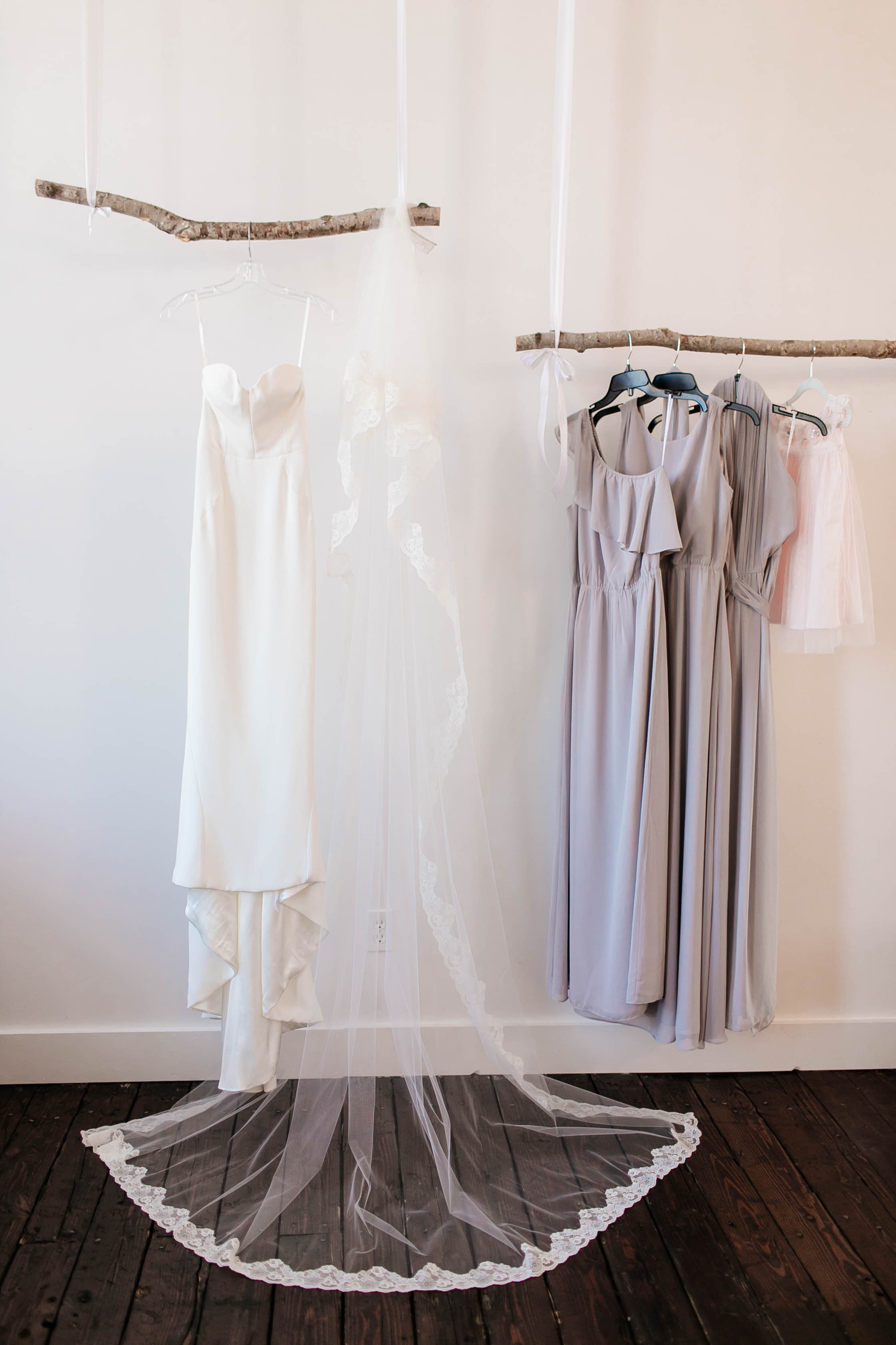 How to Capture Your Getting Ready Photos | Leah Fontaine Photography | Getting ready photos dress hanging from branch
