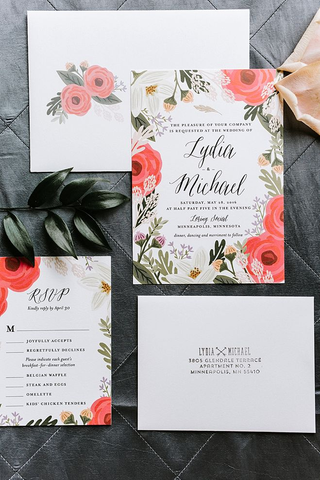Lydia + Michael Sixpence Events day of coordinating client | Loring Social | Kate Becker Photography | Mann Frau Videography | Minted wedding stationery | flat lay