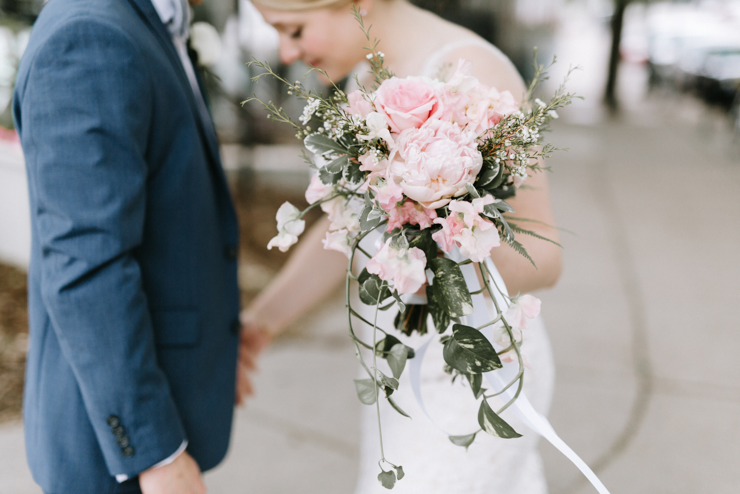 Lydia + Michael Sixpence Events day of coordinating client | Loring Social | Kate Becker Photography | Mann Frau Videography | Minted wedding stationery | bridal bouquet pink roses and peonies and wax flowers with ivy
