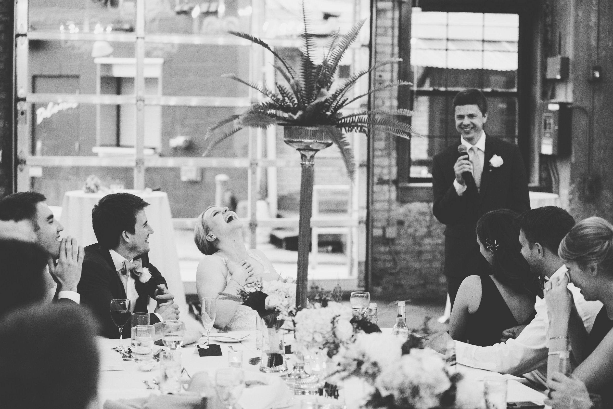 Lydia + Michael Sixpence Events day of coordinating client | Loring Social | Kate Becker Photography | Mann Frau Videography | Minted wedding stationery | reaction to wedding toast