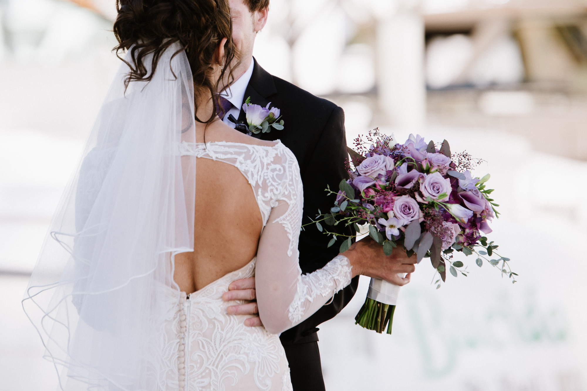 first look on the docks   purple wedding bouquet   Dillinger Studios Minneapolis Photographer   Mexican American fusion wedding   Sixpence Events & Planning Minnesota wedding planner .jpg