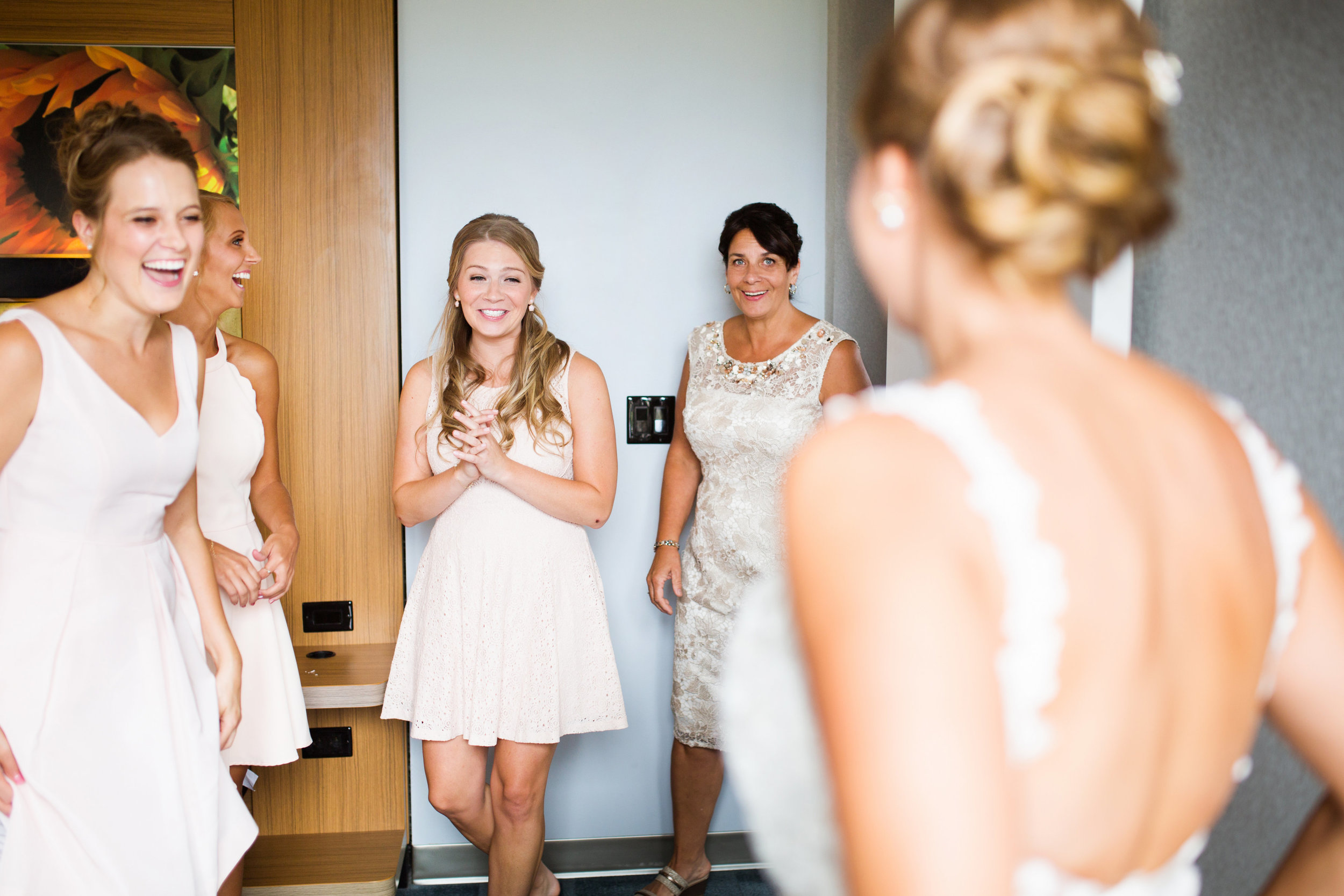 Kaylie + Travis | Sixpence Events wedding planner in the midwest | Studio KH photography | bride first look with bridesmaids and MOG
