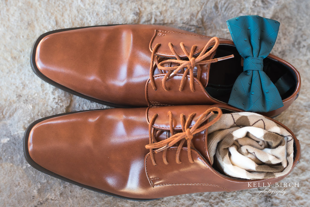 Amy + Patrick shoes and bowtie and socks detail photo by Kelly Birch Photography | Sixpence Events & Planning