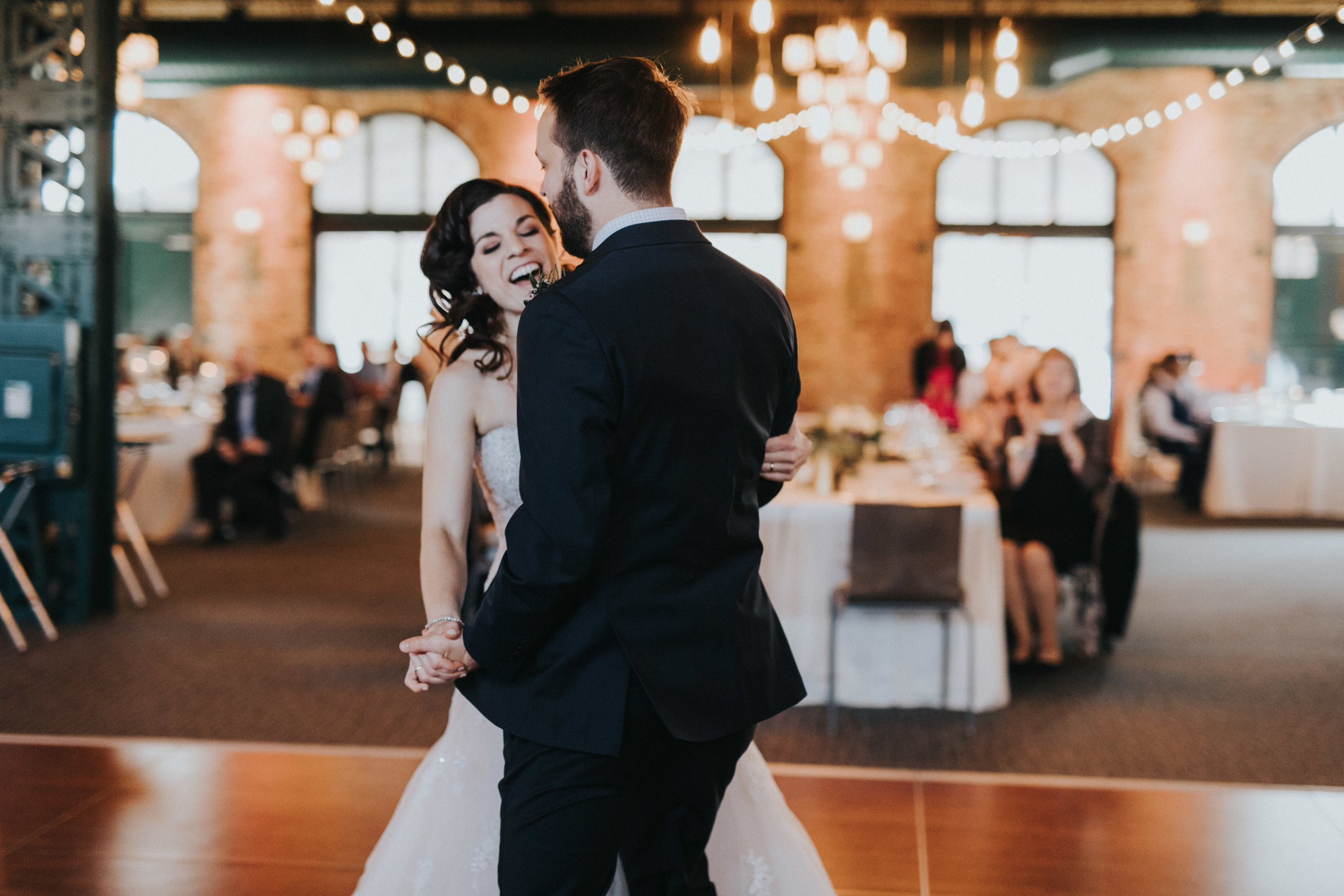 first dance | Russell Heeter Photography :: Minneapolis wedding planner Sixpence Events :: Nicollet Island Pavilion :: april wedding in Minnesota.jpg