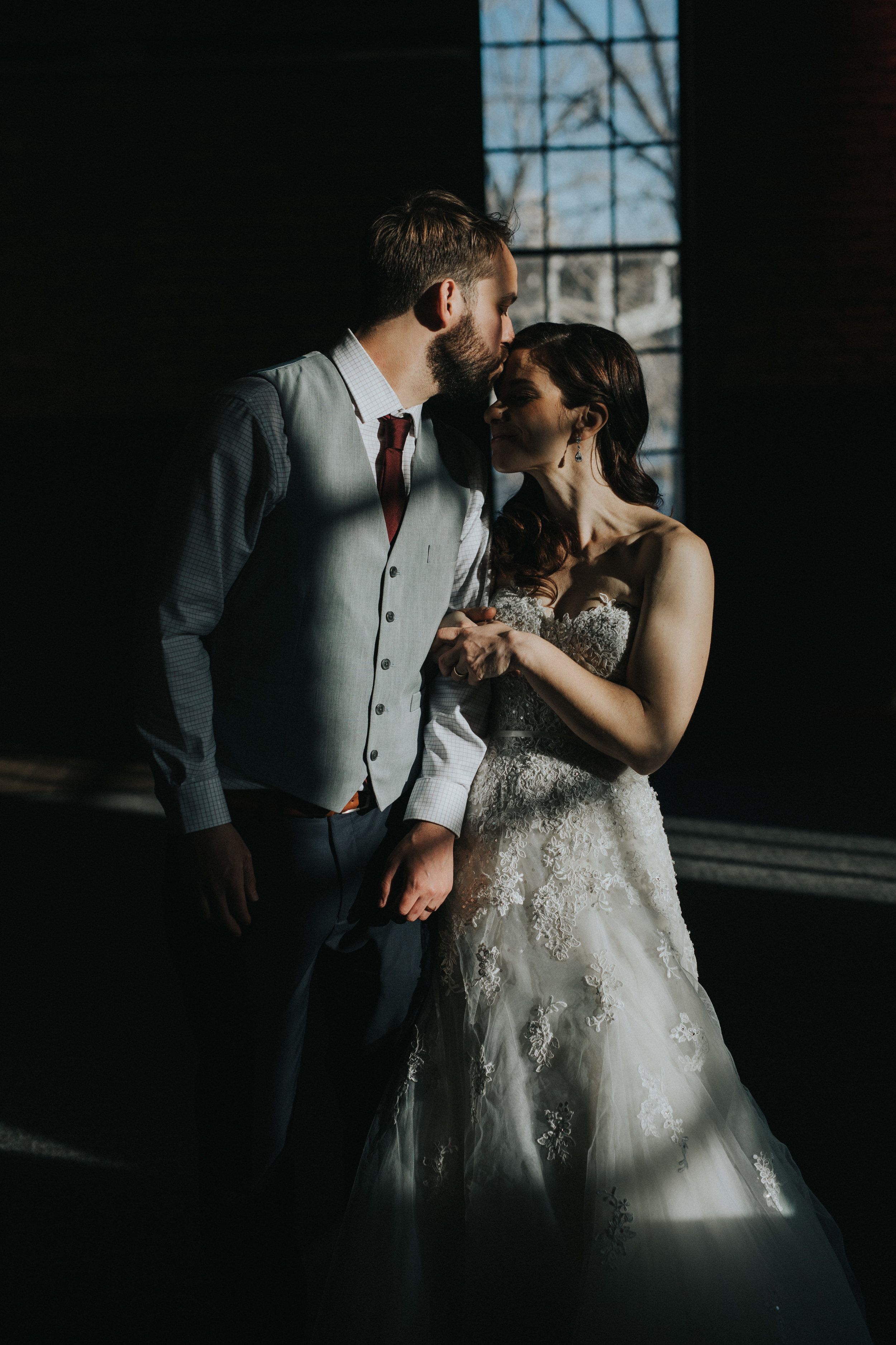 shadows couple photo | Russell Heeter Photography :: Minneapolis wedding planner Sixpence Events :: Nicollet Island Pavilion :: april wedding in Minnesota.jpg