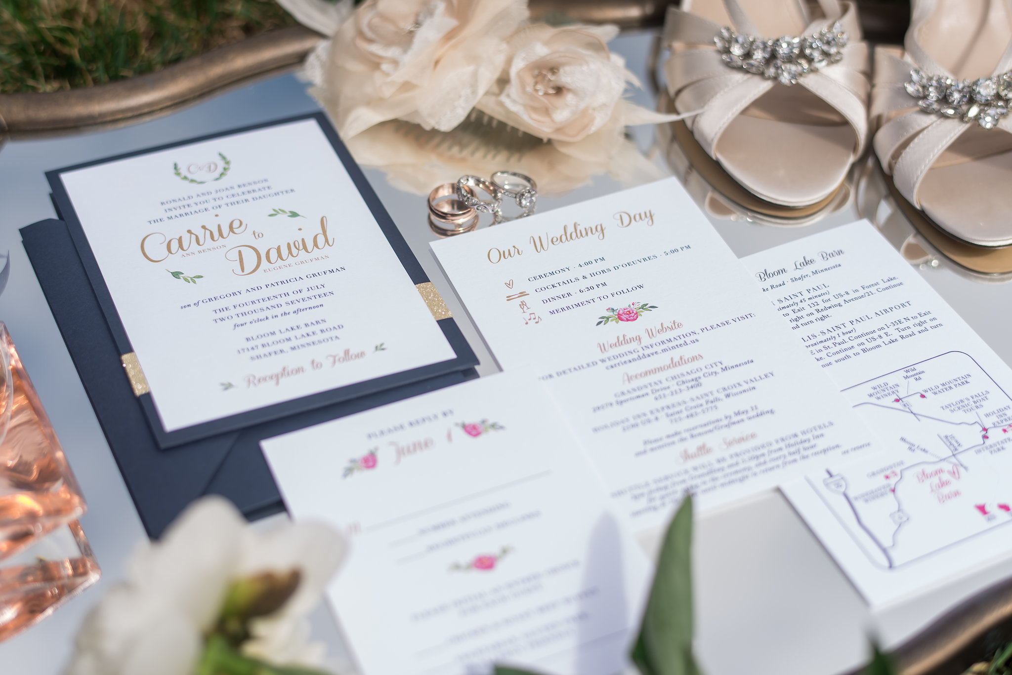 flat lay invitation suite on mirror | Kelly Birch Photography :: Bloom Lake Barn :: Sixpence Events Minnesota wedding planner :: A Vintage Touch Weddings :: Brett Dorian.jpg