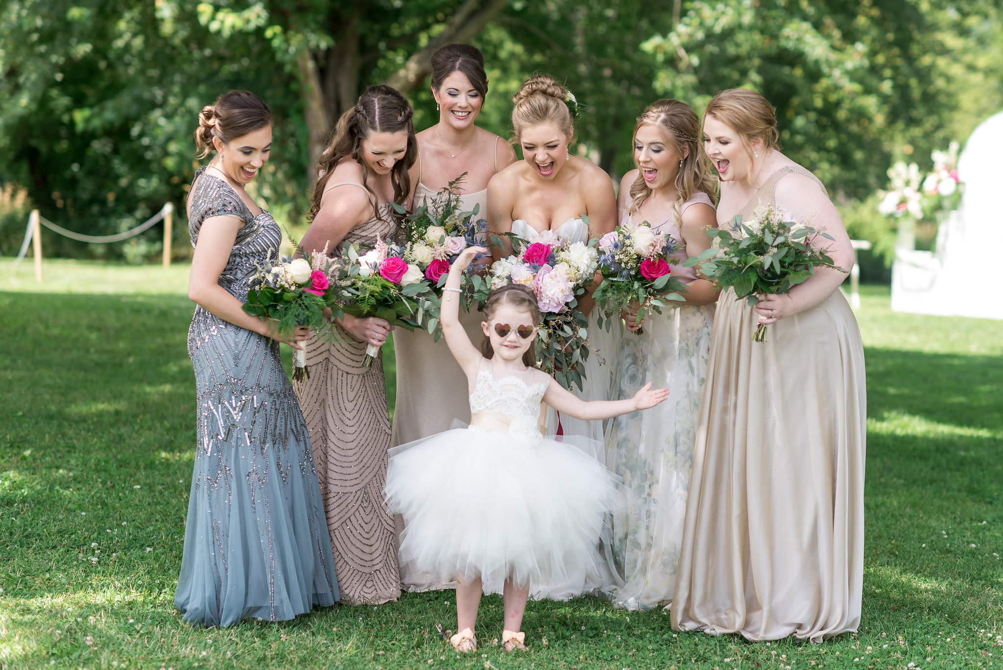 bridal party with flower girl and heart glasses | Kelly Birch Photography :: Bloom Lake Barn :: Sixpence Events Minnesota wedding planner :: A Vintage Touch Weddings :: Brett Dorian.jpg