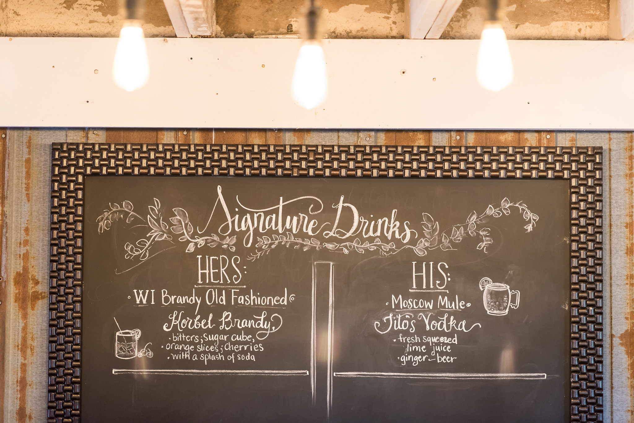 signature drinks chalkboard sign | Kelly Birch Photography :: Bloom Lake Barn :: Sixpence Events Minnesota wedding planner :: A Vintage Touch Weddings :: Brett Dorian.jpg