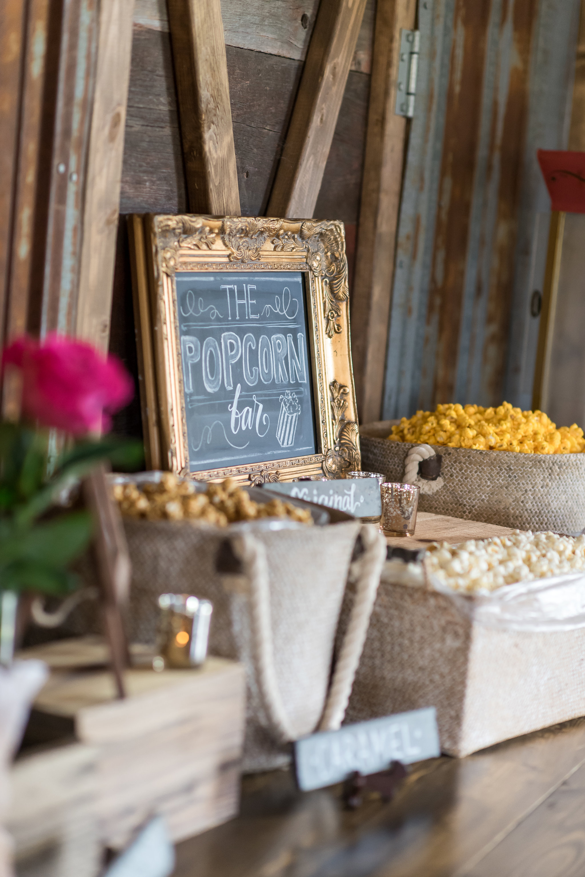 popcorn bar and chalkboard sign | Kelly Birch Photography :: Bloom Lake Barn :: Sixpence Events Minnesota wedding planner :: A Vintage Touch Weddings :: Brett Dorian.jpg