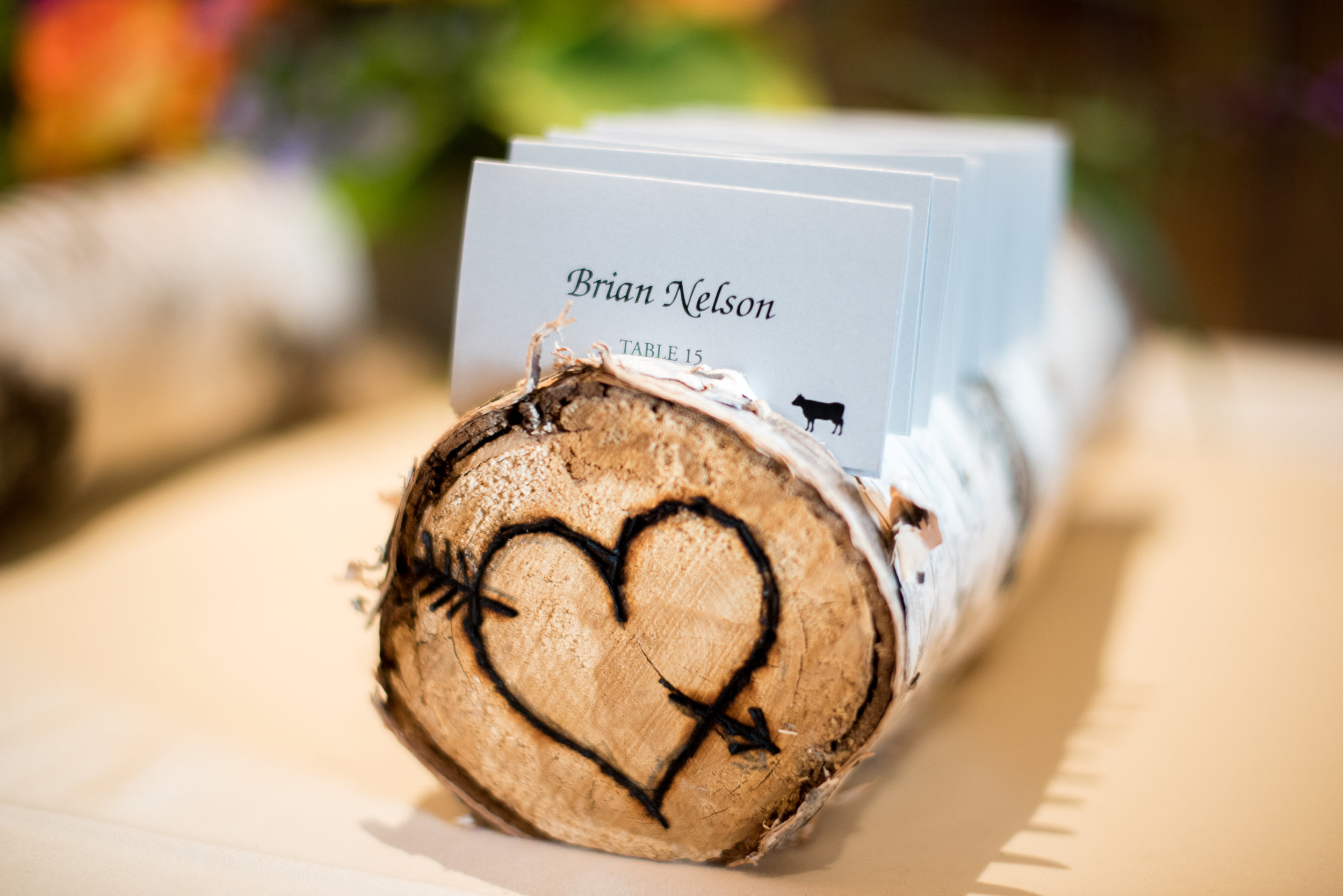 birch branch log place card holder | Kelly Birch Photography :: Horse and Hunt Club :: Sixpence Events Minnesota wedding planner .jpg