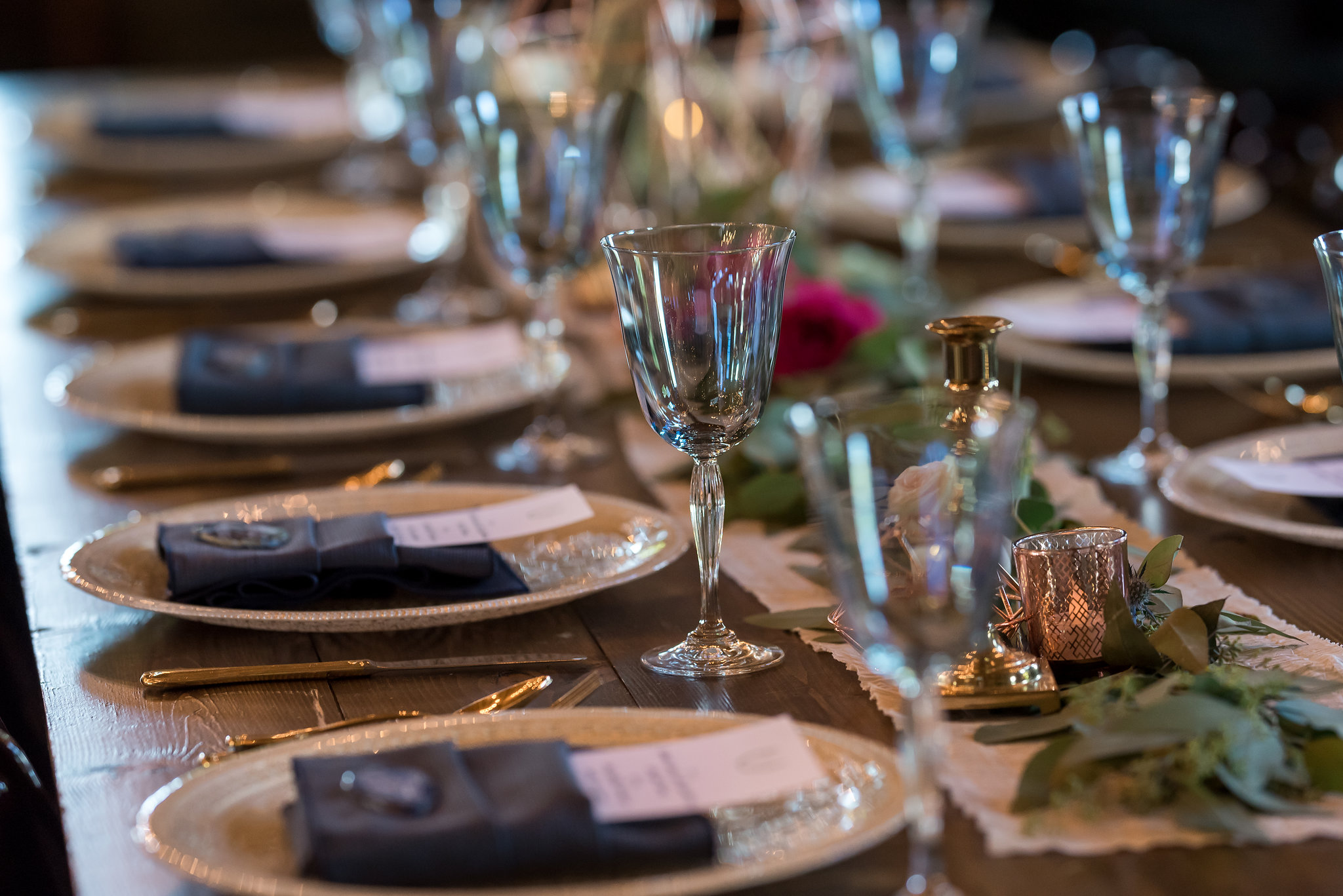 champagne charges and blue water goblets | Kelly Birch Photography :: Bloom Lake Barn :: Sixpence Events Minnesota wedding planner :: A Vintage Touch Weddings :: Brett Dorian.jpg
