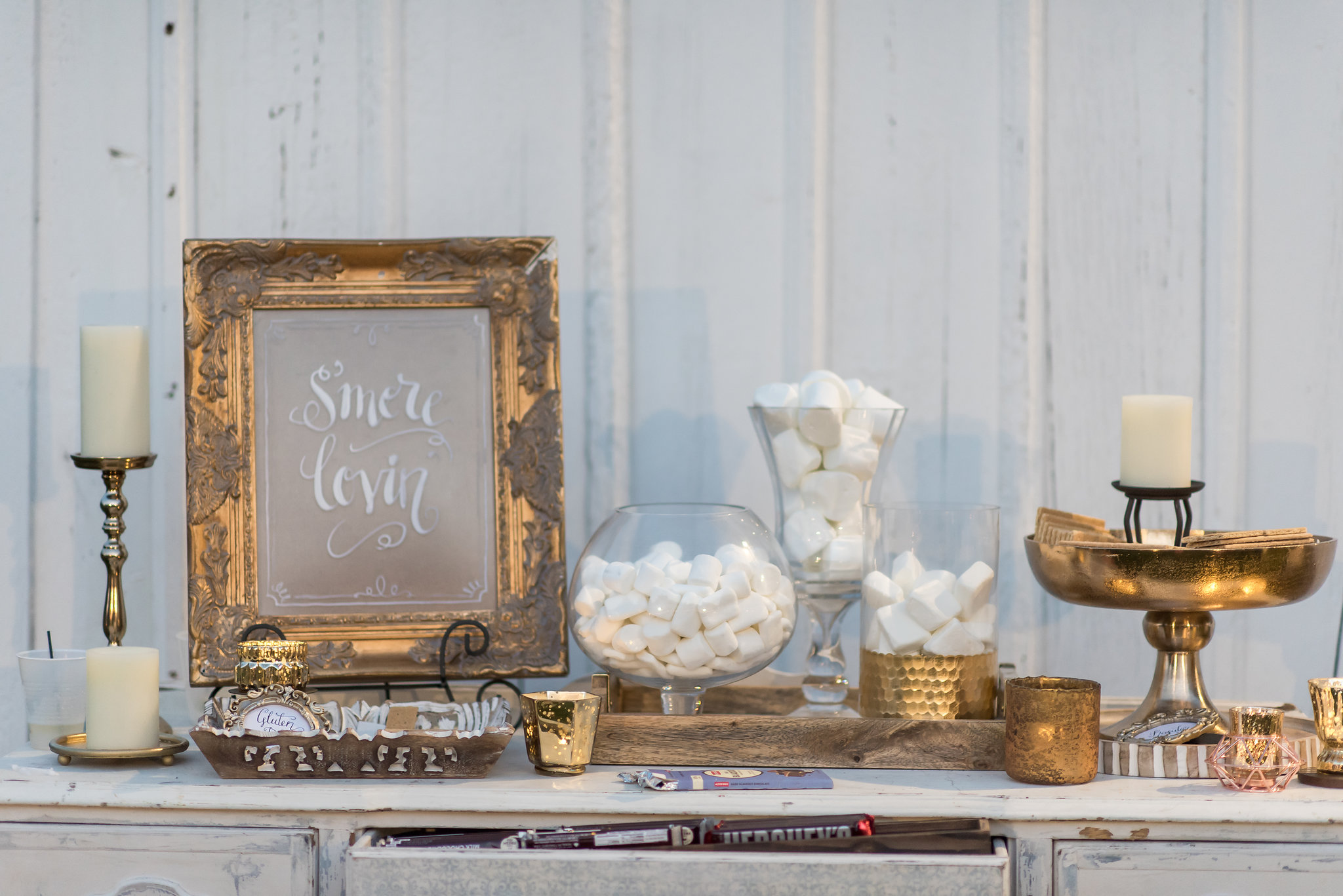 smores bar with apothecary jars | Kelly Birch Photography :: Bloom Lake Barn :: Sixpence Events Minnesota wedding planner :: A Vintage Touch Weddings :: Brett Dorian.jpg