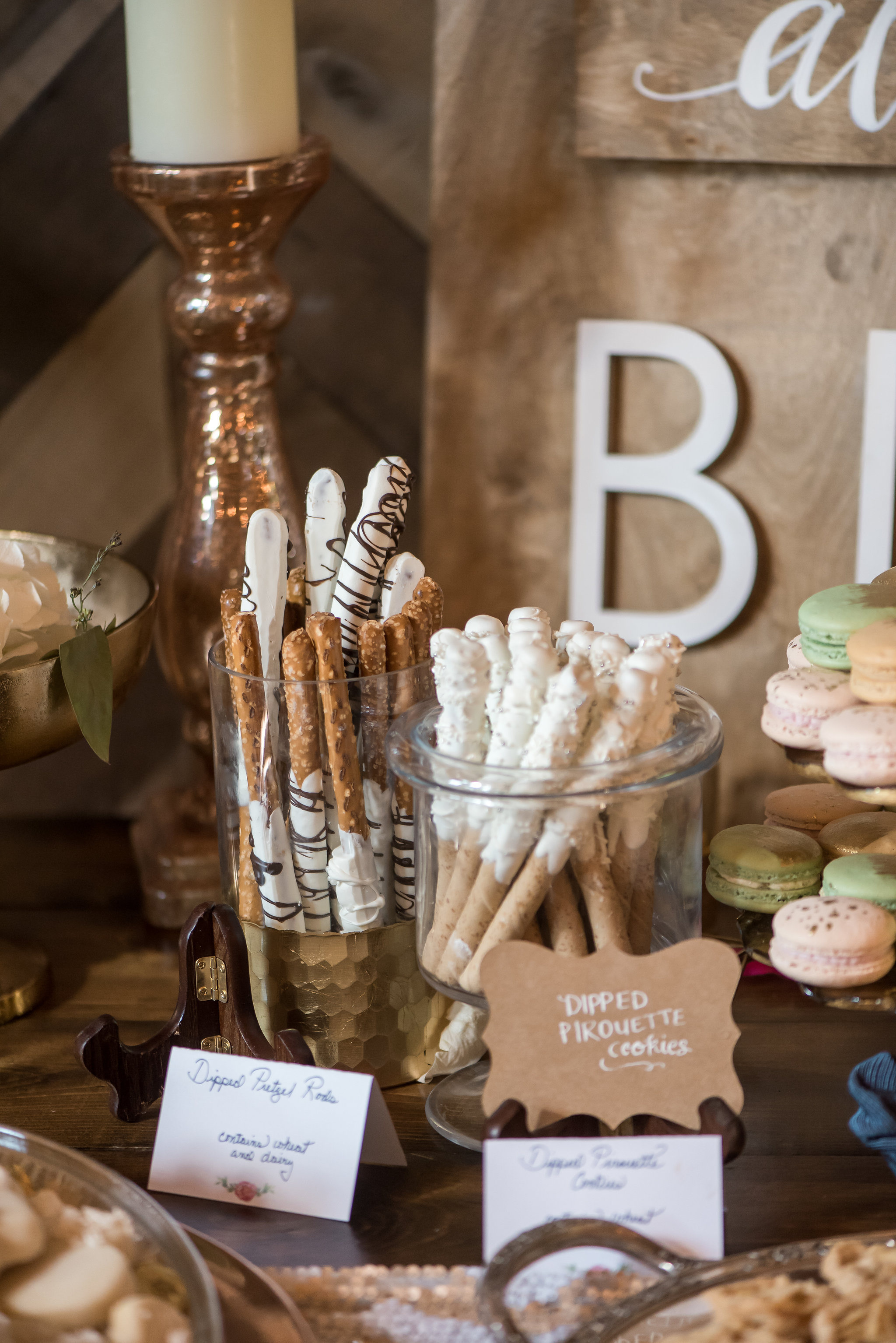 dipped pretzels dessert bar | Kelly Birch Photography :: Bloom Lake Barn :: Sixpence Events Minnesota wedding planner :: A Vintage Touch Weddings :: Brett Dorian.jpg