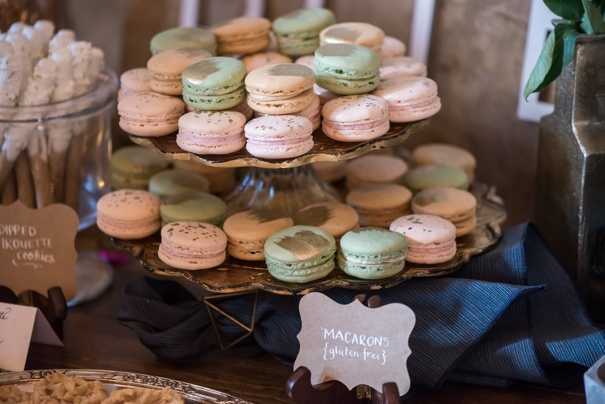 macarons with gold paint stripe on top | Kelly Birch Photography :: Bloom Lake Barn :: Sixpence Events Minnesota wedding planner :: A Vintage Touch Weddings :: Brett Dorian.jpg