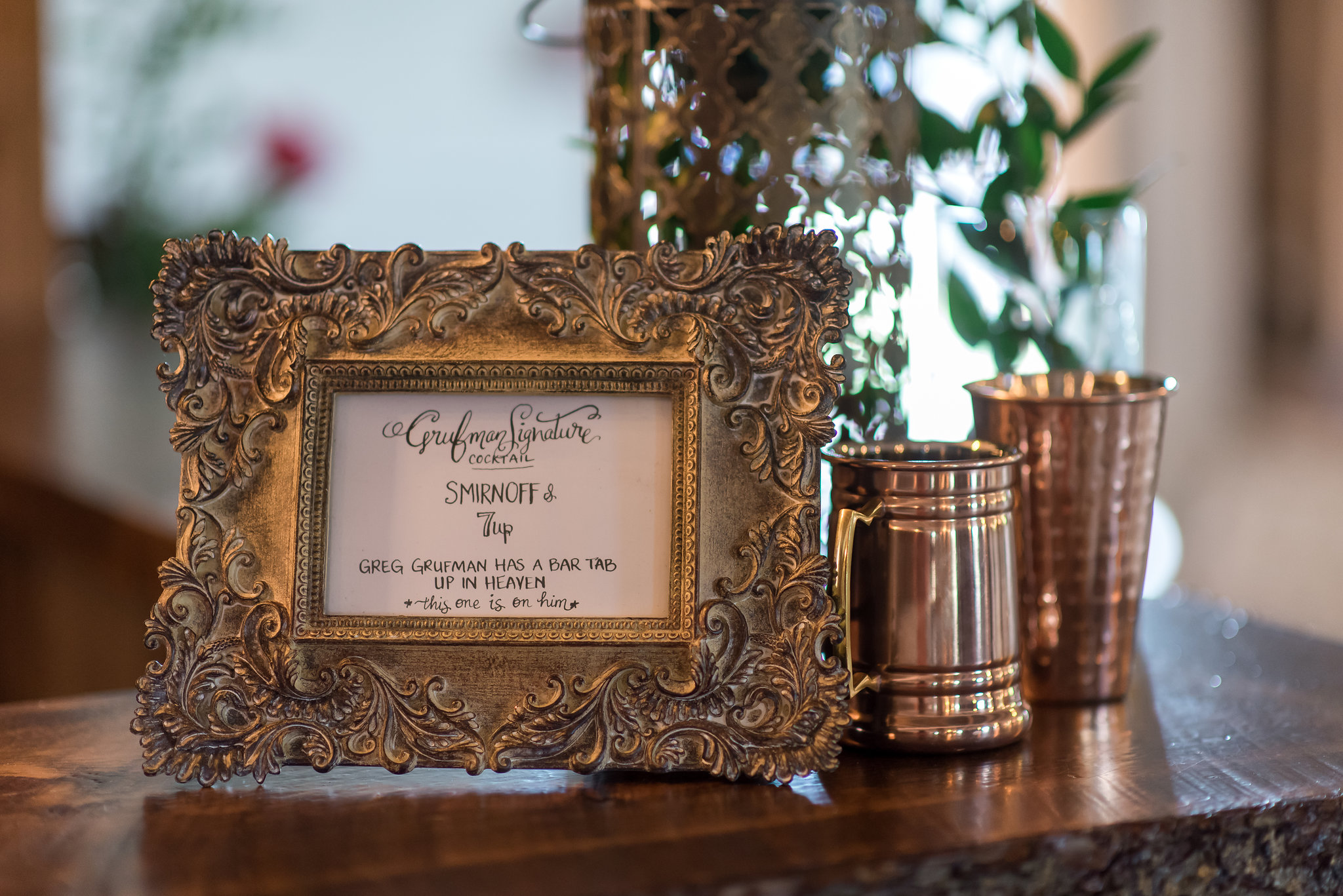memorial signature cocktail | Kelly Birch Photography :: Bloom Lake Barn :: Sixpence Events Minnesota wedding planner :: A Vintage Touch Weddings :: Brett Dorian.jpg