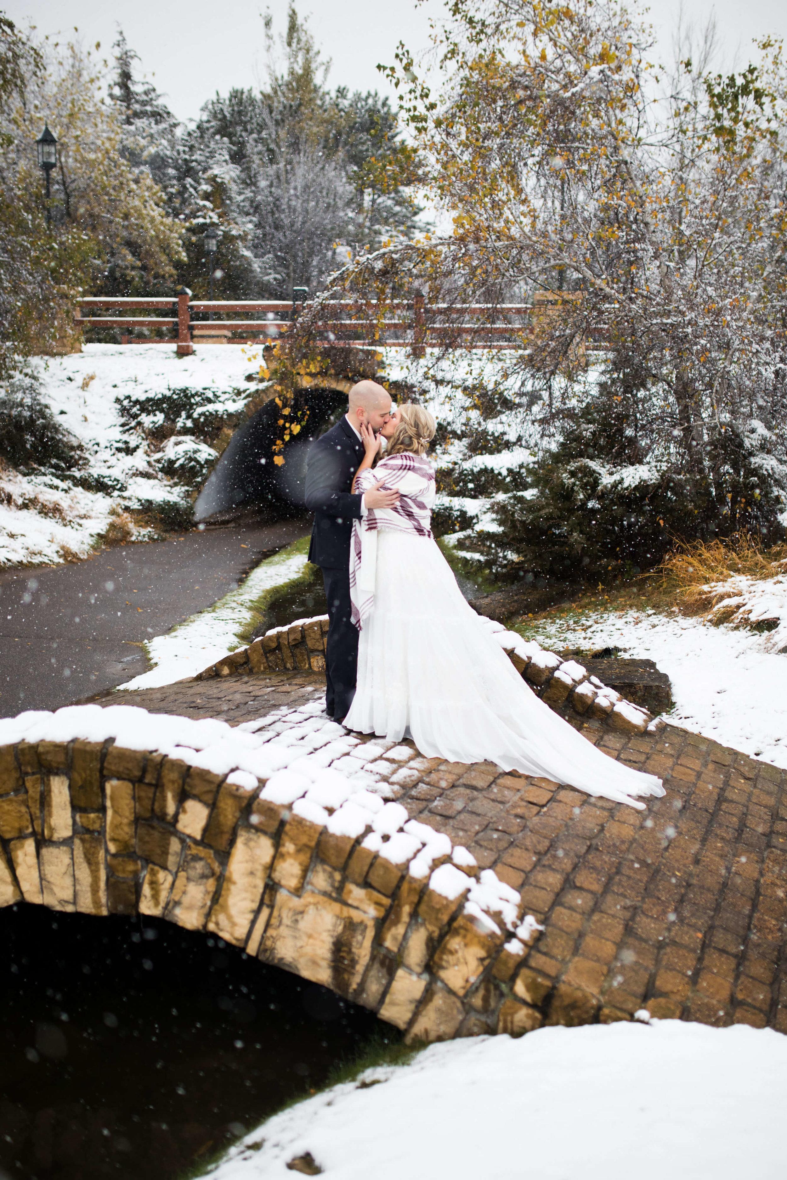 winter wedding | plaid shawl | bridge with snow | Minnesota wedding photographer Studio KH wedding dress details | wedding blog | Sixpence Events 70 Ways to Photograph Your Wedding Dress.jpg