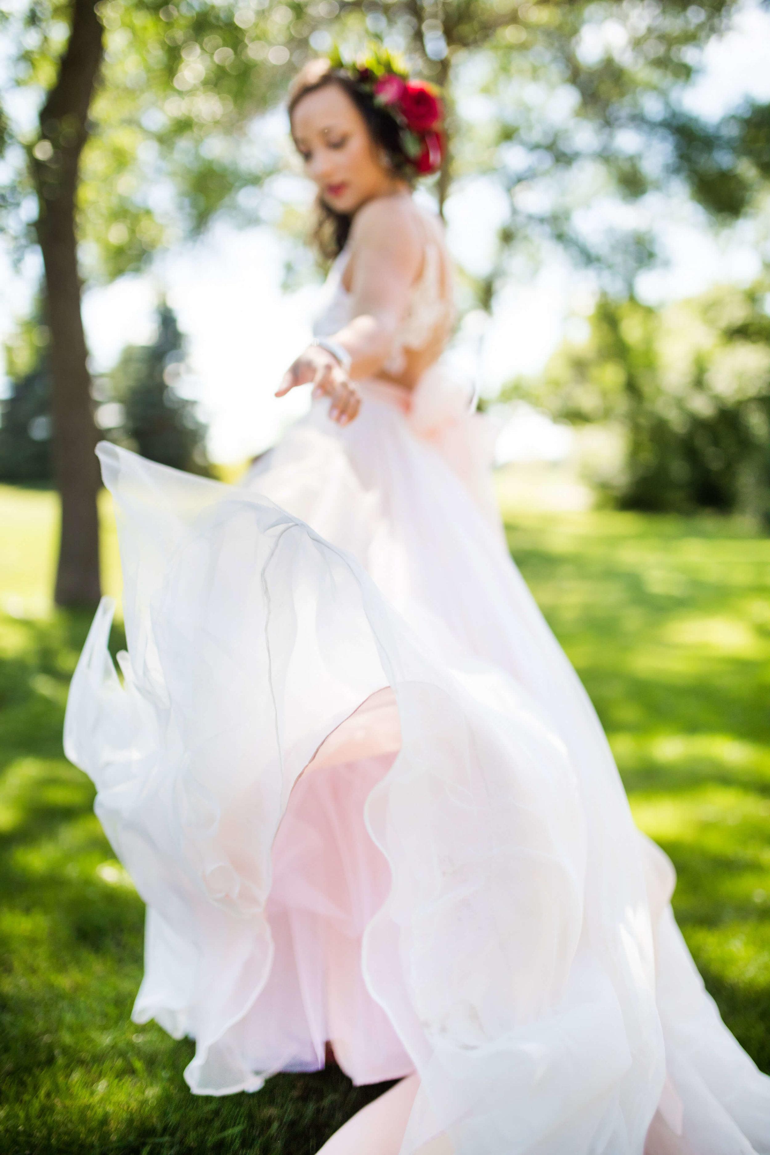 pink underlay wedding dress | Minnesota wedding photographer Studio KH wedding dress details | wedding blog | Sixpence Events 70 Ways to Photograph Your Wedding Dress.jpg