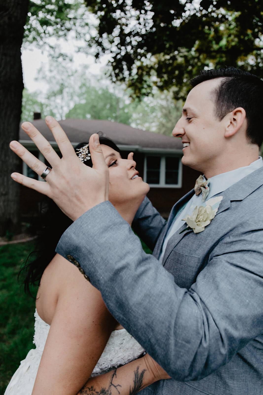 Alex + Lisi -- backyard Minnesota wedding -- Mads Lizotte photography -- Sixpence Events -- bright suit.jpg