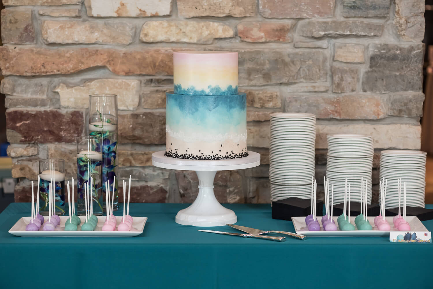 K Solberg Photography | Elm Creek Chalet | Minneapolis day of coordinator Sixpence Events | bird's eye view beach inspired cake, cake pops in teal, purple and pink