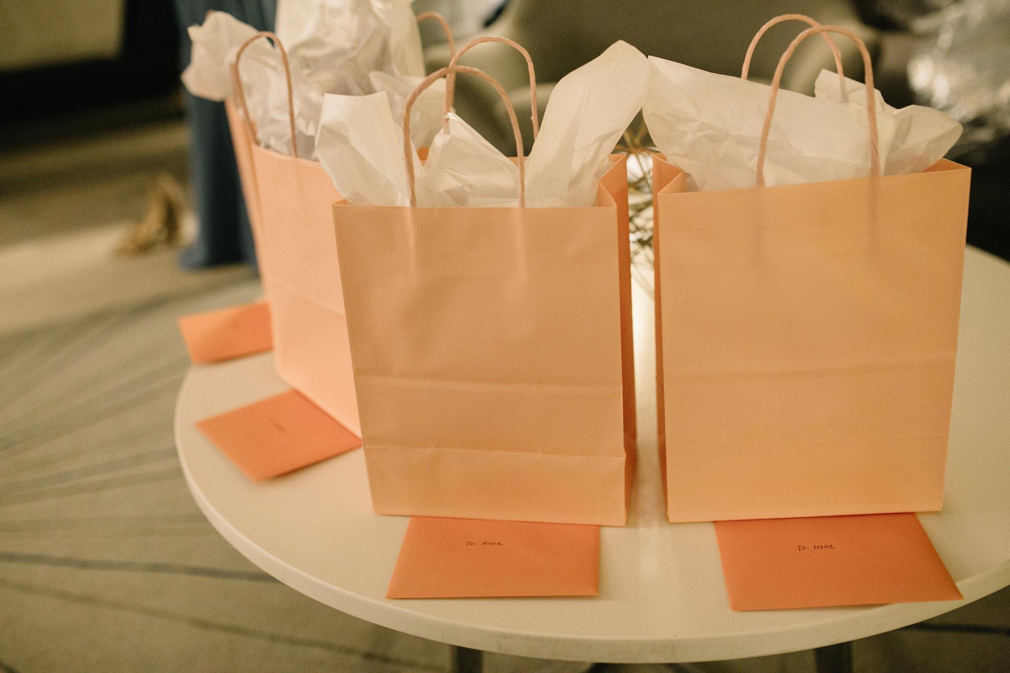 bridesmaids gift bags :: Whims and Joy Minneapolis photographer :: Sixpence Events & Planning Minnesota wedding planner :: Nicollet Island Pavilion.jpg