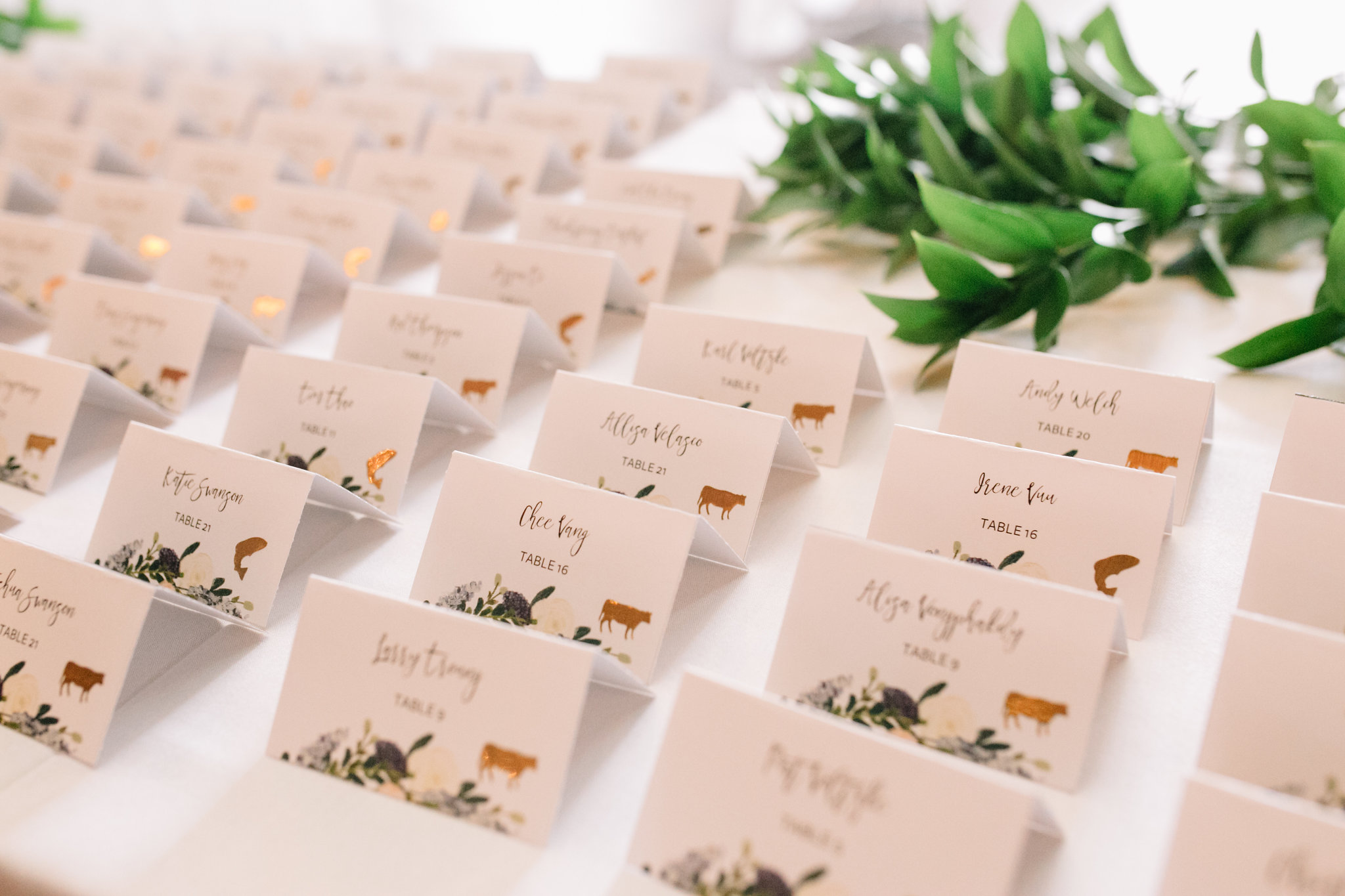 place cards with gold meal sticker, Whims and Joy Minneapolis photographer :: Sixpence Events & Planning Minnesota wedding planner :: Nicollet Island Pavilion.jpg