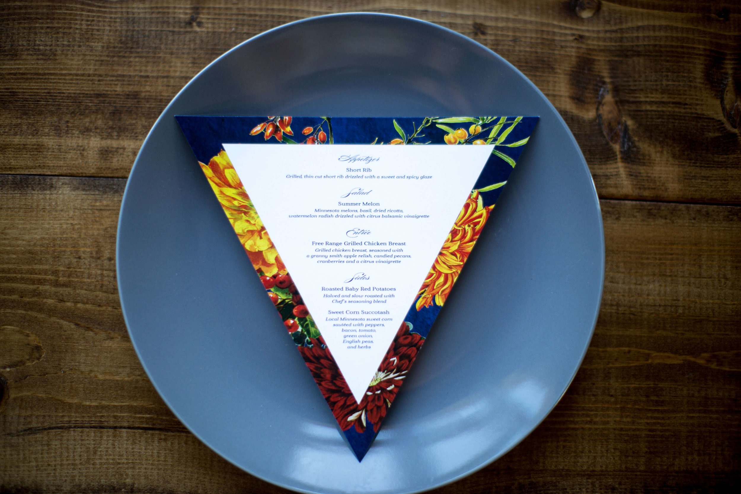 Triangle menu | Krista Reynolds Photography | Sixpence Events Wedding planning | Ivory Isle Design