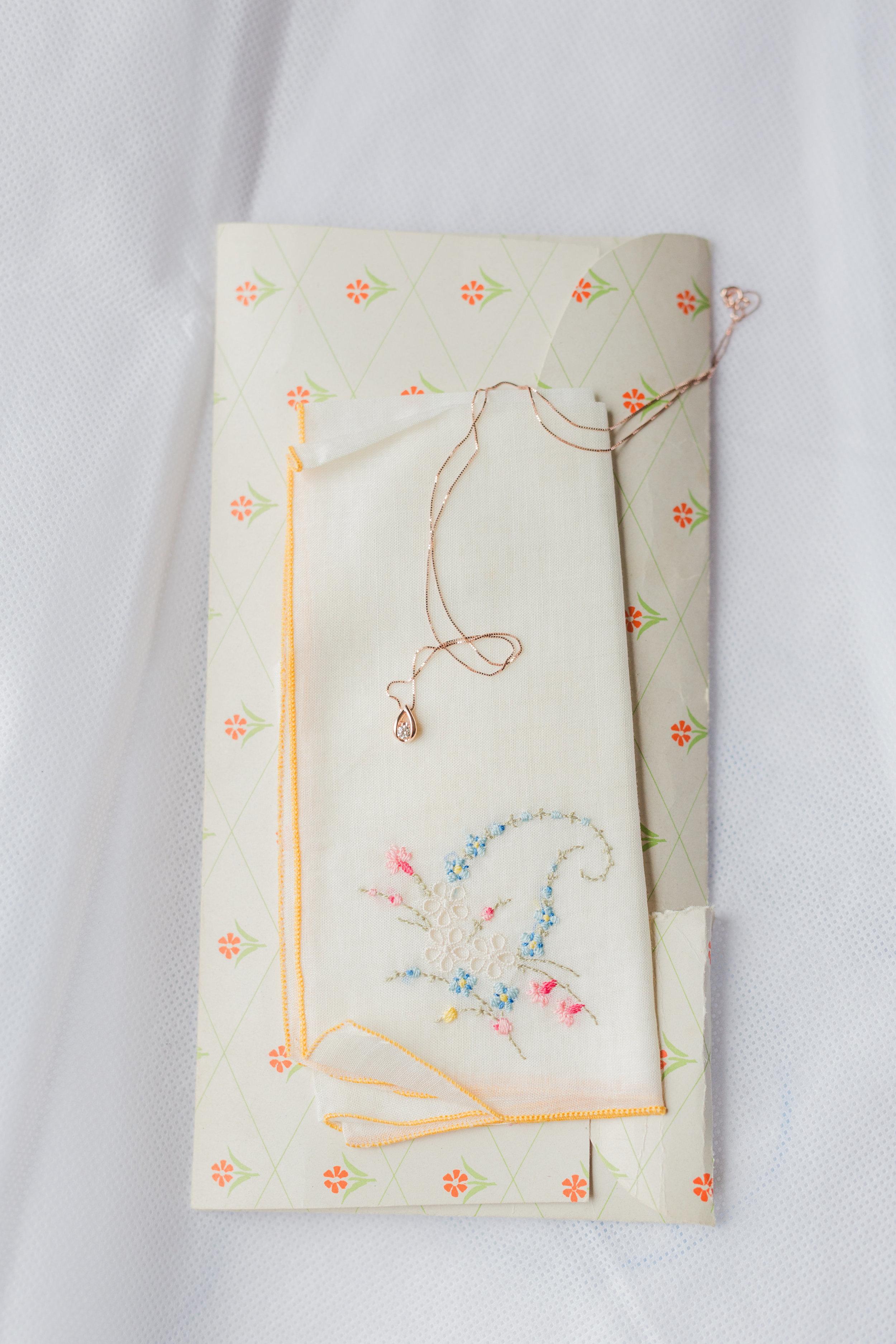 Jill + John :: Kristen Dyer :: Sixpence Events, antique handkerchief